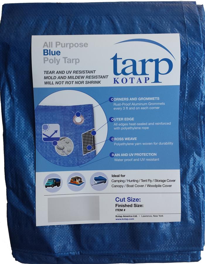 Blue Silver All Purpose Water Resistant Tarp Tarps Heavy Duty Reinforced Corner