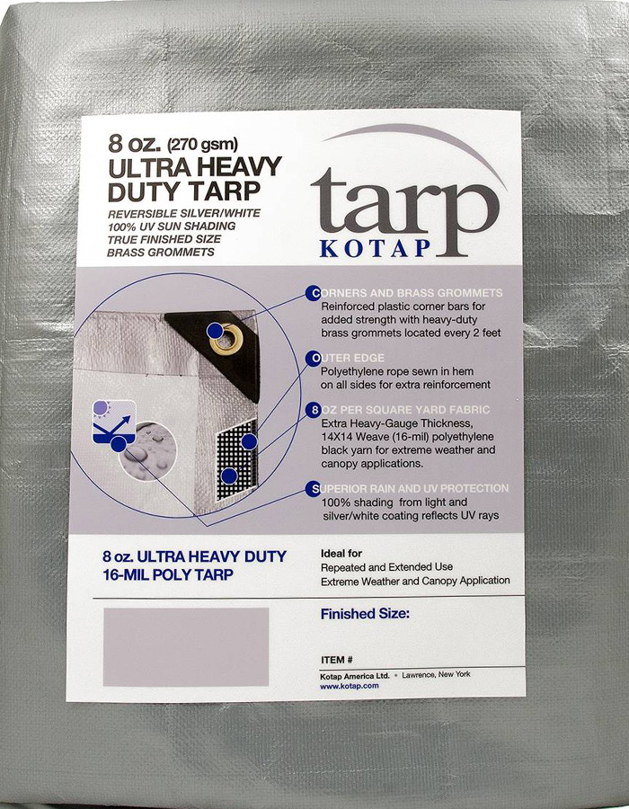 TRS-0620 Kotap America Ltd. Kotap 6-ft x 20-ft Heavy-Duty 14 by 14 Cross Weave UV Blocking 10-mil Silver Poly Tarp Item